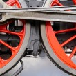 Red train wheels — Stock Photo