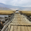 Stock Photo: Wooden bridge in central Mongolia