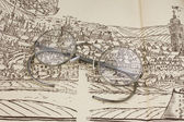 Old plan of Kutna Hora with glasses, ancient town in the Czech Republic, — Foto de Stock