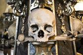 Um fragmento da decoração do skiff humano e ossos — Foto Stock