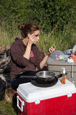 Camping and Cosmetics — Stock Photo