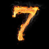 Numbers and symbols on fire — Stock Photo