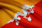 Series of ruffled flags. Bhutan. — Stock Photo