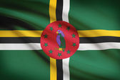 Series of ruffled flags. Commonwealth of Dominica. — Stock Photo
