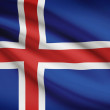 Series of ruffled flags. Republic of Iceland. — Stock Photo