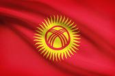 Series of ruffled flags. Kyrgyz Republic. — Stock Photo