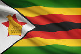 Series of ruffled flags. Republic of Zimbabwe. — Stock Photo