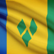 Series of ruffled flags. Saint Vincent and the Grenadines. — Stock Photo