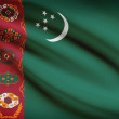 Series of ruffled flags. Turkmenistan. — Stock Photo