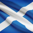 Stock Photo: Series of ruffled flags. Scotland.