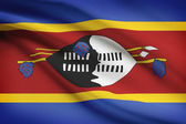 Series of ruffled flags. Kingdom of Swaziland. — Stock Photo