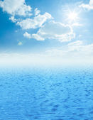 Beautiful sea horizon with clouds above it — Stock Photo