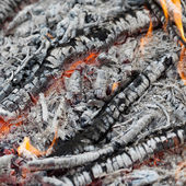 Ash and embers of bonfire after barbecue cooking — Стоковое фото