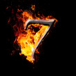 Numbers and symbols on fire - 7 — Stock Photo