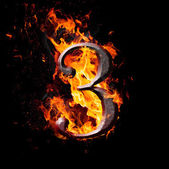 Numbers and symbols on fire - 3 — Stock Photo