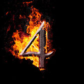 Numbers and symbols on fire - 4 — Stock Photo