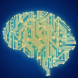 Circuit board in human brain form. Technological illustration. — Stock Photo