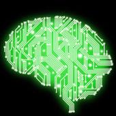 Illustration of circuit board in human brain form — Stock Photo