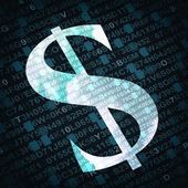 US dollar currency sign with numbers and letters on background — Stock Photo