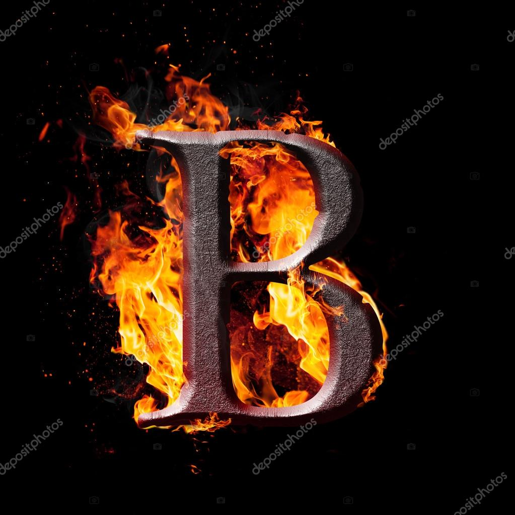 B Letter In Fire Letters and symbols in fire
