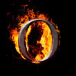 Foto Stock: High resolution iron letters illustration in fire on black background