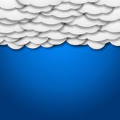 White paper clouds over gradient blue background - illustration — Stock Photo