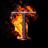 High resolution iron letters illustration in fire on black background — Stock Photo