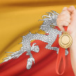 Medal in hand with flag on background - Kingdom of Bhutan — Stock Photo