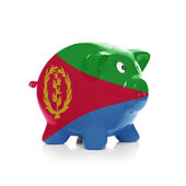 Piggy bank with flag coating over it - Eritrea — Stock Photo