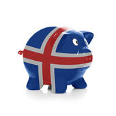 Piggy bank with flag coating over it - Iceland — Stock Photo