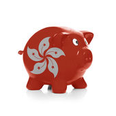 Piggy bank with flag coating over it - Hong Kong — Zdjęcie stockowe