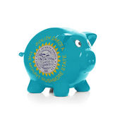 Piggy bank with flag coating over it - State of South Dakota — Stock Photo