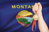 Medal in hand with flag on background - State of Montana. Part of a series. — Stock Photo