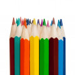 Art tools - color pencils on white background - 1 to 1 ratio — Stock Photo #43825915