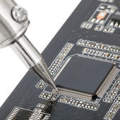 Close up of electronic circuit board with several semiconductors - 1 to 1 ratio — Stock Photo