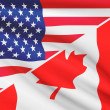 Series of ruffled flags. USA and Canada. — Stock Photo #43947899