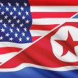 Series of ruffled flags. USA and North Korea. — Foto Stock