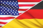Series of ruffled flags. USA and Germany. — Stock Photo
