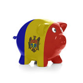 Piggy bank with flag painting over it - Moldova — Stock Photo