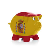 Piggy bank with flag painting over it - Spain — Stock Photo