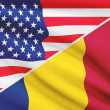 Series of ruffled flags. USA and Chad. — Stock Photo #44279733