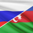 Постер, плакат: Series of ruffled flags Russia and Azerbaijan