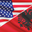 Постер, плакат: Series of ruffled flags USA and Albania