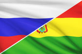 Series of ruffled flags. Russia and Bolivia. — Stockfoto
