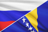 Series of ruffled flags. Russia and Bosnia and Herzegovina. — Stock Photo