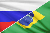 Series of ruffled flags. Russia and Brazil. — Stock Photo