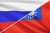 Series of ruffled flags. Russia and Burma. — Stock Photo