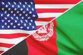 Series of ruffled flags. USA and Afghanistan. — Stockfoto