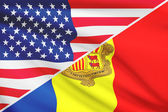 Series of ruffled flags. USA and Andorra. — Stockfoto