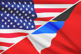 Series of ruffled flags. USA and Antigua and Barbuda. — Stock Photo